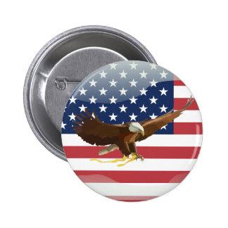 Bald eagle Usa flag 6 Cm Round Badge