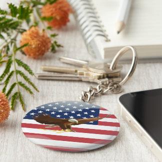 Bald eagle Usa flag Basic Round Button Key Ring