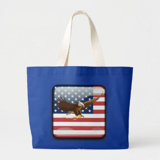 Bald eagle Usa flag Large Tote Bag