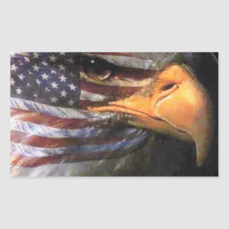 Bald Eagle - USA Flag Rectangular Sticker