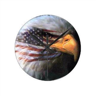Bald Eagle - USA Flag Round Clock