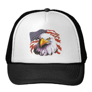 Bald Eagle With A Tear - USA Flag In Background Cap