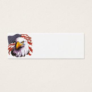 Bald Eagle With A Tear - USA Flag In Background Mini Business Card