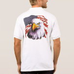 Bald Eagle With A Tear - USA Flag In Background Polo T-shirt