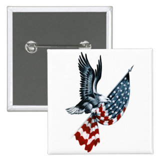 Bald Eagle with American Flag 15 Cm Square Badge