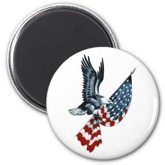 Bald Eagle with American Flag 6 Cm Round Magnet