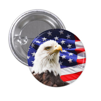 Bald Eagle with American Flag Background 3 Cm Round Badge