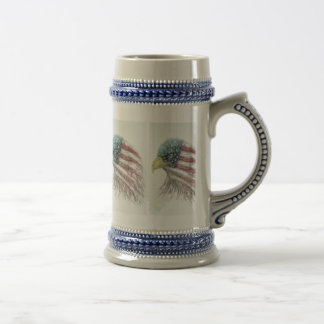 Bald Eagle With American Flag Beer Stein