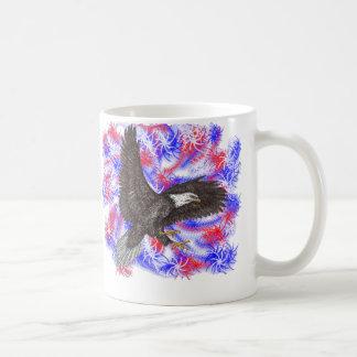 Bald Eagle with fireworks Coffee Mug