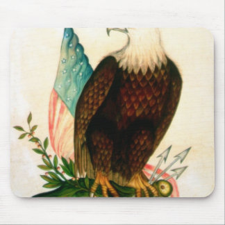 Bald eagle with flag mouse pad