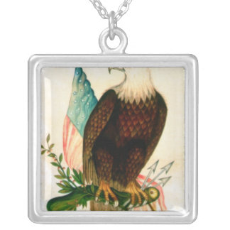 Bald eagle with flag silver plated necklace