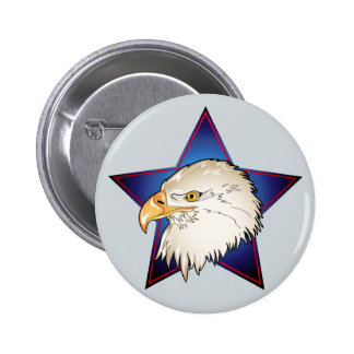 Bald Eagle with Star 6 Cm Round Badge