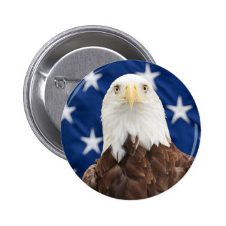 Bald Eagle with the American Flag 6 Cm Round Badge