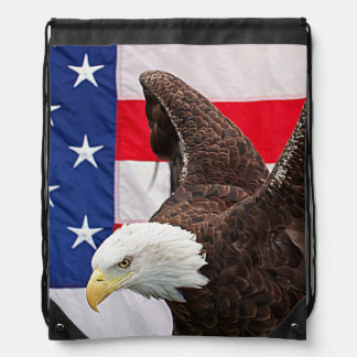 Bald Eagle with the American Flag Drawstring Bag