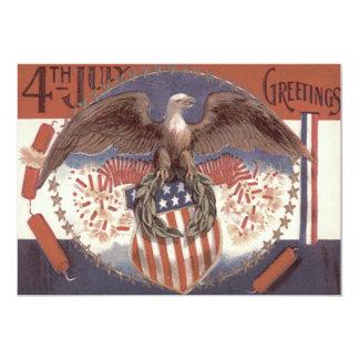 Bald Eagle Wreath American Shield Fireworks 13 Cm X 18 Cm Invitation Card