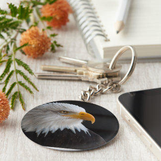 bald eagles flight freedom wings USA American Basic Round Button Keychain