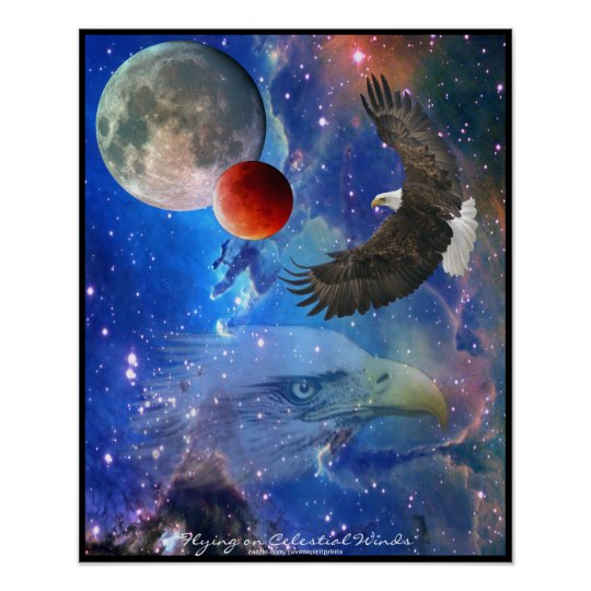 Bald Eagles, Space & Planets Fantasy Art Poster