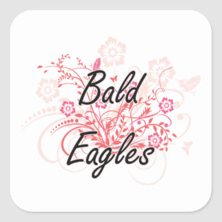 Bald Eagles with flowers background Square Sticker