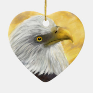 Bald Headed Eagle Ceramic Heart Decoration