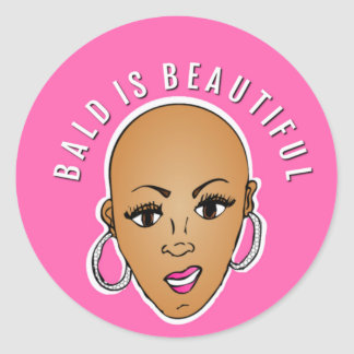 Bald is beautiful classic round sticker
