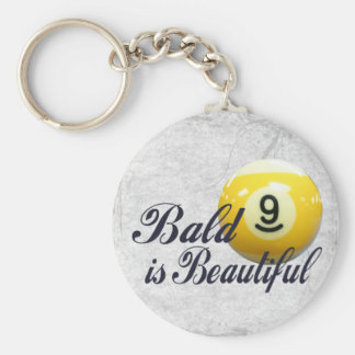 Bald is Beautiful Basic Round Button Key Ring