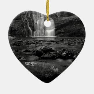 Bald River Falls bw.jpg Ceramic Heart Decoration