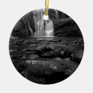 Bald River Falls bw.jpg Round Ceramic Decoration
