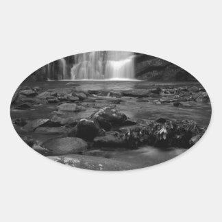 Bald River Falls bw.jpg Oval Sticker