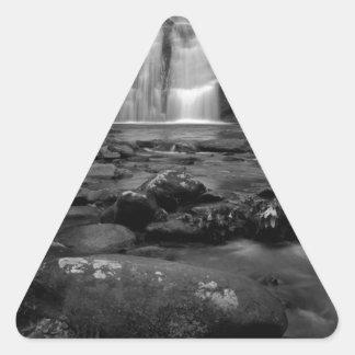 Bald River Falls bw.jpg Triangle Sticker