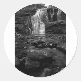 Bald River Falls bw.jpg Round Sticker