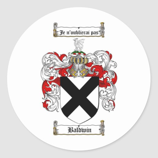 BALDWIN FAMILY CREST -  BALDWIN COAT OF ARMS ROUND STICKER
