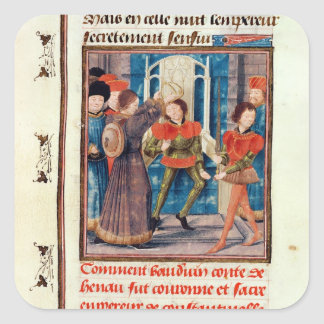 Baldwin I  Sixth Count of Hainaut crowned Square Sticker