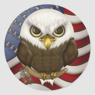 Baldwin The Cute Bald Eagle Classic Round Sticker
