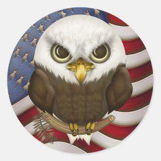 Baldwin The Cute Bald Eagle Round Sticker