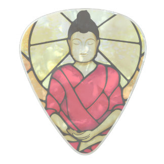 Bali buddha stain glass window pearl celluloid guitar pick
