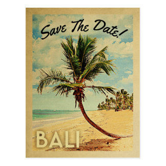 Bali Save The Date Vintage Beach Palm Tree Postcard