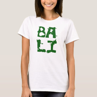 Bali white tshirt green text for woman