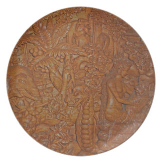 Bali Wood Carving Dishes Dinner Plates