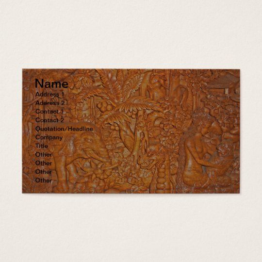 Bali Wood Carving One-of-a-Kind Art Business Card