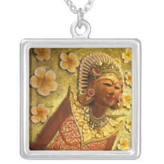Balinese Dancer 1 Square Pendant Necklace