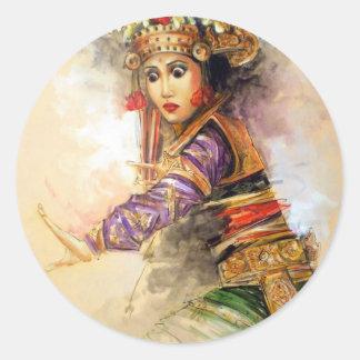 Balinese dancer classic round sticker
