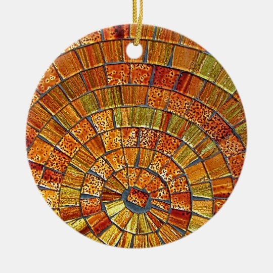 Balinese Glass Tile Art - Brown Christmas Ornament