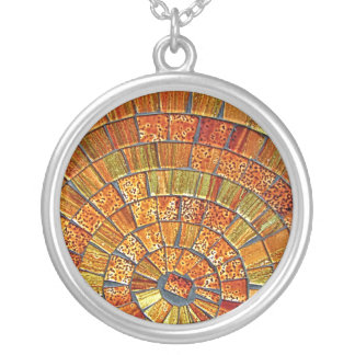 Balinese Glass Tile Art - Brown Round Pendant Necklace