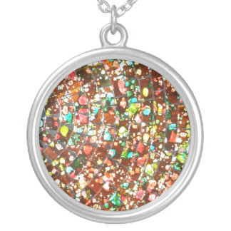 Balinese Glass Tile Art Round Pendant Necklace