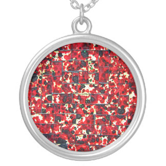 Balinese Glass Tile Art - Red Round Pendant Necklace
