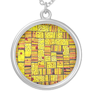 Balinese Glass Tile Art - Yellow Necklace