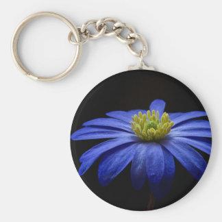 Balkan Anemone Flower Blue Keychain