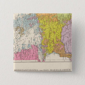 Balkan Peninsula  and Constantinople Map 15 Cm Square Badge