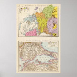 Balkan Peninsula  and Constantinople Map Poster