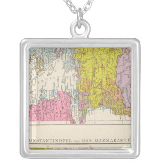 Balkan Peninsula  and Constantinople Map Silver Plated Necklace